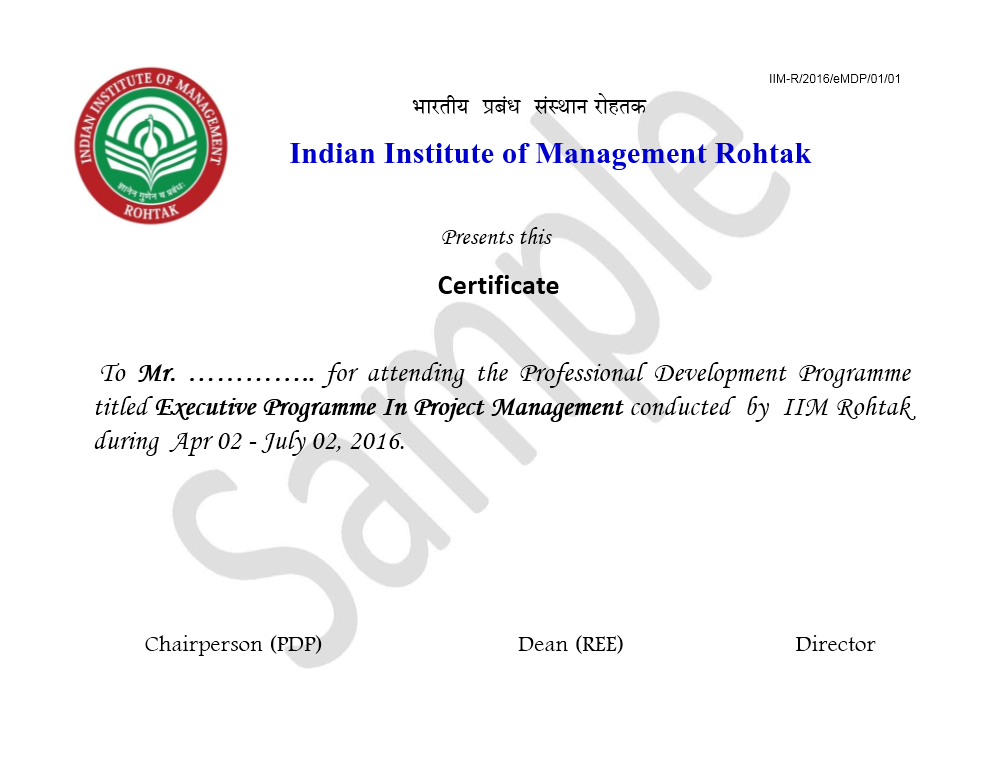 Executive Program In Project Management By Iim Rohtak Pmp