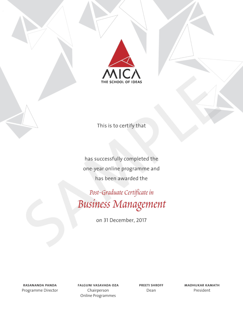 Business Management Course From Mica Online Certification Program