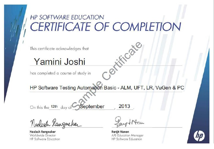 hp testing software certificate automation talentedge sample certification