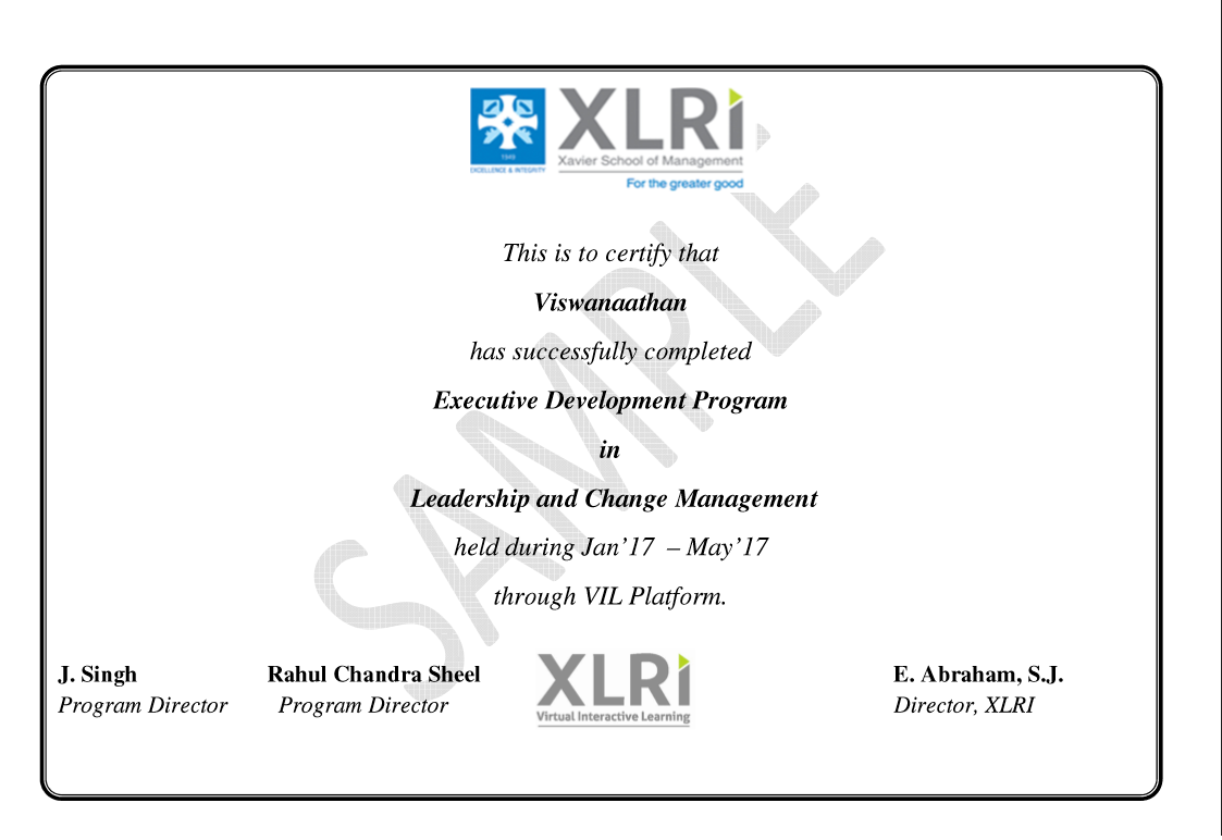 Leadership and change management certification courses from xlri view sample certificate yadclub Gallery