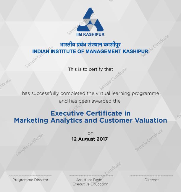 Marketing Analytics Customer Valuation Online Course From Iim