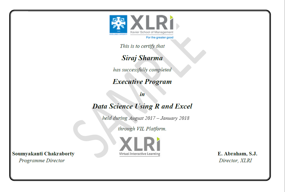 Data Science Course Using R & Excel from XLRI Jamshedpur