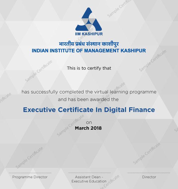 Executive Certificate Program In Digital Finance Iim Kashipur