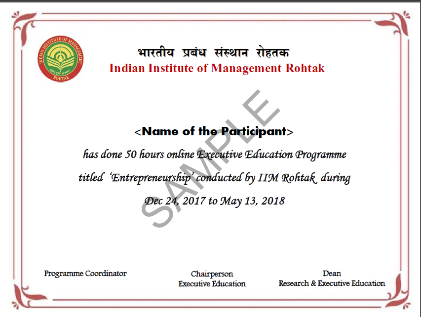 Executive Development Program In Entrepreneurship From Iim Rohtak