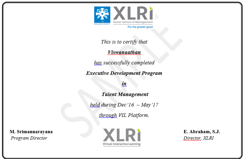 Certified Talent Management Courses Online from XLRI Jamshedpur