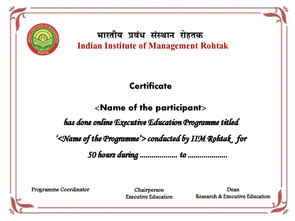 Executive Development Program In Strategic Management From Iim Rohtak