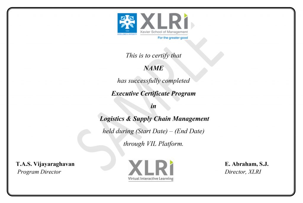 Logistics And Supply Chain Management Certification Courses form XLRI