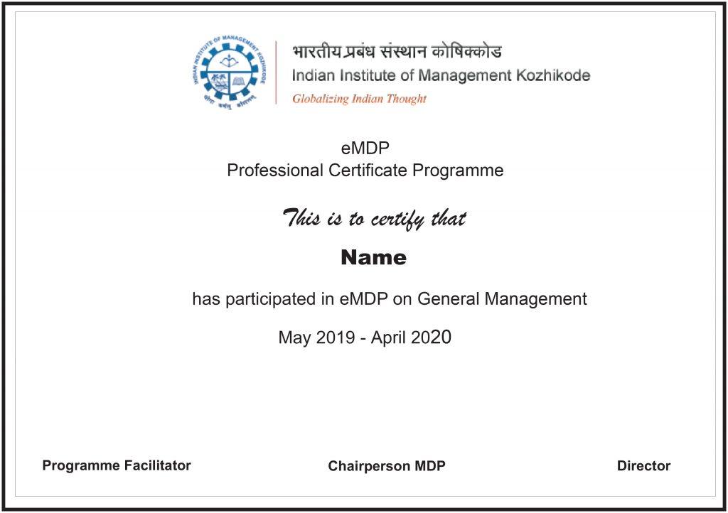 general management certification from iim khozhikode