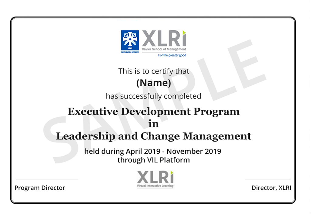 certificate management change leadership xlri certification sample talentedge executive