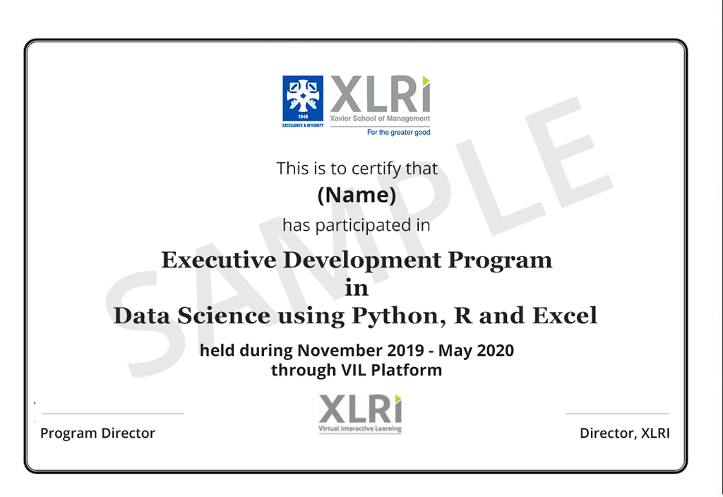 Data Science Course with Python, R & Excel from XLRI Jamshedpur