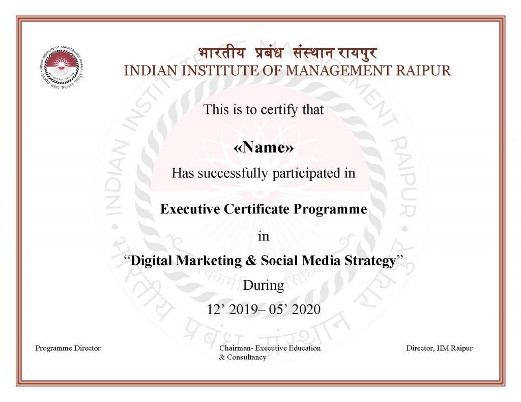 Digital Marketing Course from IIM Raipur